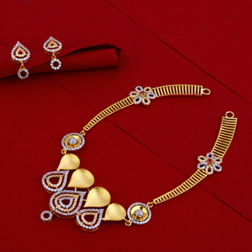 916  Gold CZ  Hallmark stylish Ladies Necklace Set LN80