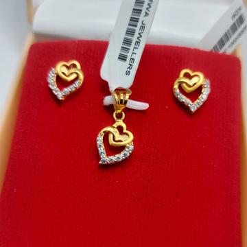 18ct CZ designer Pendant Set by Parshwa Jewellers