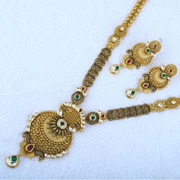 916 Gold Antique Necklace Set STG - 0102