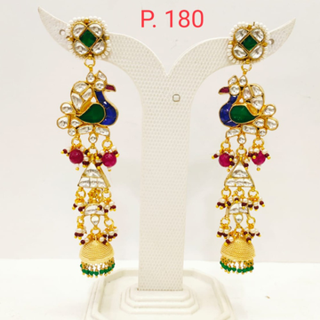 Traditional Peacock Design long Earring with Hanging Jhumka 1702