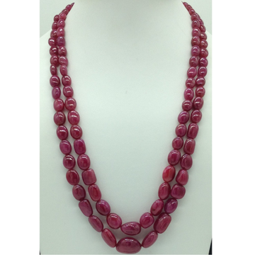 Natural Red Ruby Oval Aweja 2Layers Necklace JSR0125