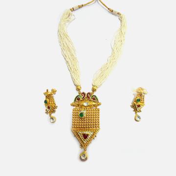 916 Gold Antique Pearl Long Necklace Set RHJ-4501