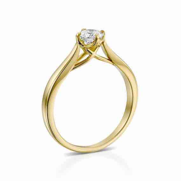 18KT Yellow Gold Real Diamond Solitaire Ring