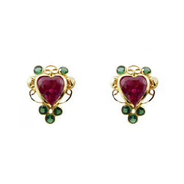 18K Gold Colour Stone Heart Tops by