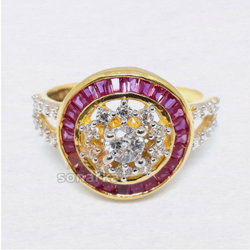 Pink CZ Diamond 916 Gold Ladies Ring