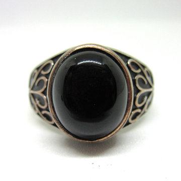 Silver 925 black stone oxidised ring for gents sr925-196