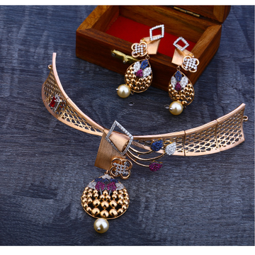 18ct  Rose Gold Women's  Classic   Necklace Set RN55