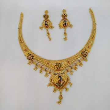 916 Gold Fancy Peacock Design Necklace Set PO-N009