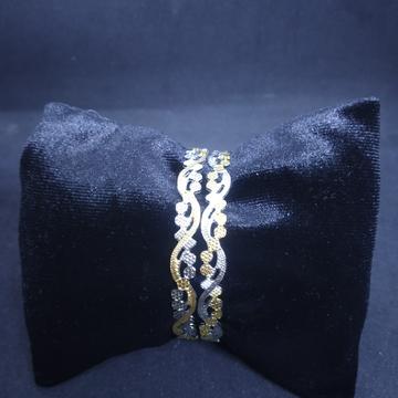 CNC two(2) tone rodiyam machine cut silver gold bangle(kadli,kangan,patla) 04