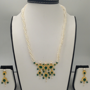 Green CZ And Pearls Timmaniya Pendent Set With 3 Line Rice Pearls Mala JPS0273