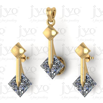 18Kt jyo  studded Stone light weight pendant set