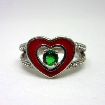Silver 925 heart shape green diamond ring sr925-16... by