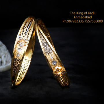 22Kt Gold Fancy Machine Cut Copper Kadli Bangle