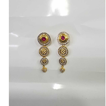 22KT Gold Red Stone Earrings
