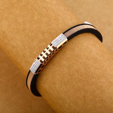 18KT Rose Gold Hallmark Designer Leather Gent's Bracelet MLB251