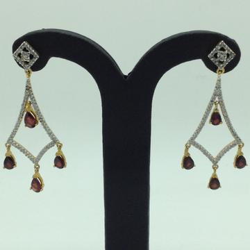 White and BrownCZ Stones Ear HangingsJER0039