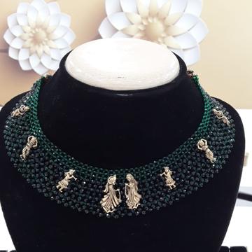 22KT Yellow Gold Enamelled Jaipuri Necklace For Women Men
