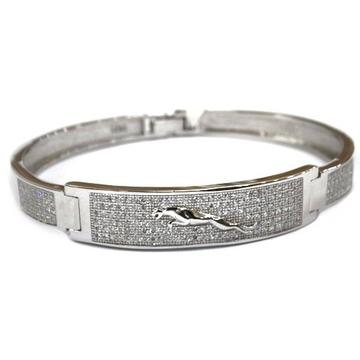 925 sterling silver jaguar gents kada bracelet mga - brs0387