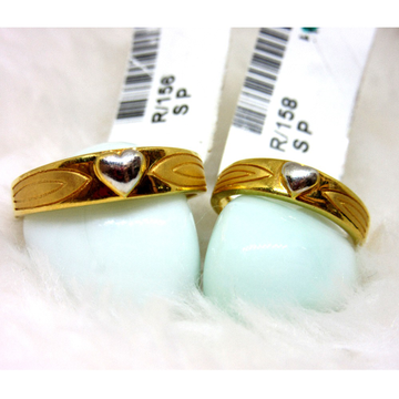Gold Heart Couple Ring Band