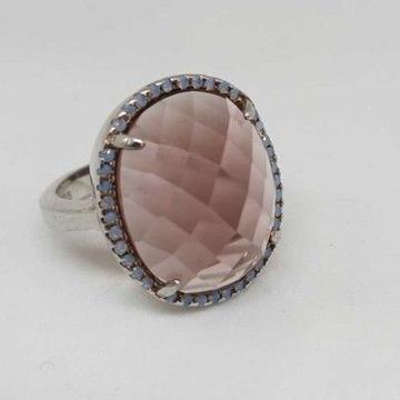 925 Sterling Silver Light Purple Diamond Ladies Ring