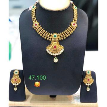 22KT Gold Hallmark Antique Necklace Set by Vipul R Soni