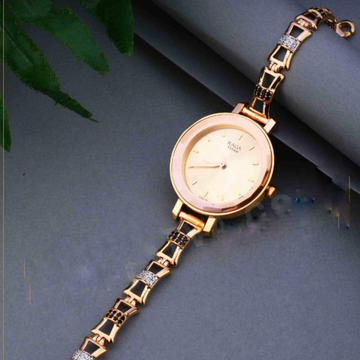 18KT Rose Gold fancy round dial watch for ladies by