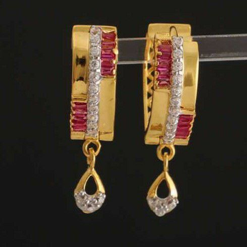 22k Gold Uv Bali Red And White Stones by