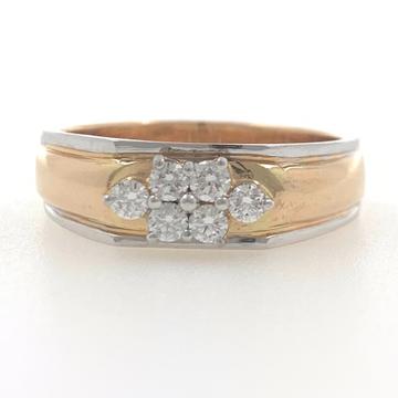 18kt / 750 rose gold fancy engagement 6 diamond gents ring 9gr17