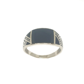925 Sterling Silver Black Meenakari Ring MGA - GRS2148