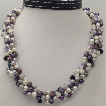 Freshwater multicolour potatopearls 4layers twisted knotted necklace with multicolour cz faceted drops