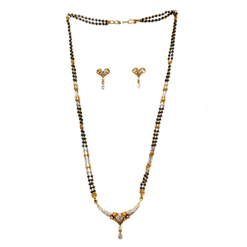 One gram gold forming cz diamond mangalsutra mga - mse0096