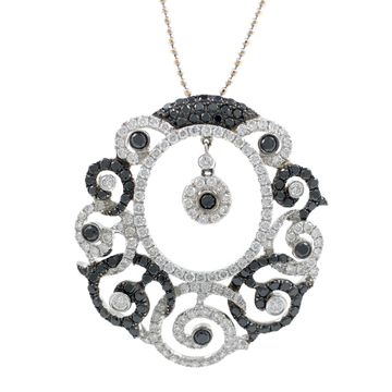 Maravillosa black & white diamond pendant in white gold shp19