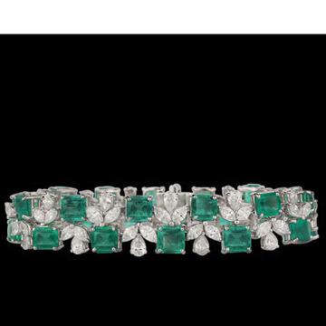 Diamonds and Emeralds Bracelet JSJ0005