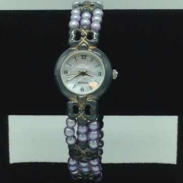 Freshwater Purple Round Pearls 3 Layers Oxidised Watch JBG0222