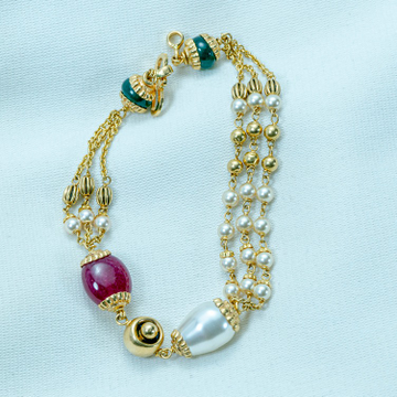 916 Gold Colorfully Antique Bracelet LB-587 by