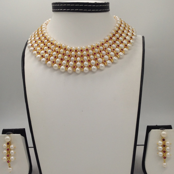 Freshwater White Round Pearls And RedCZPatti 5L...