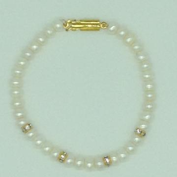 White flatpearlswithcz chakri 1layers braceletjbg0125