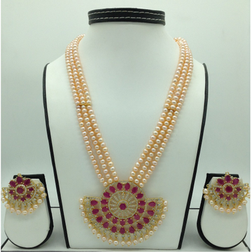 White and Red CZ Pendent Set With 3 Line Orange Pe...