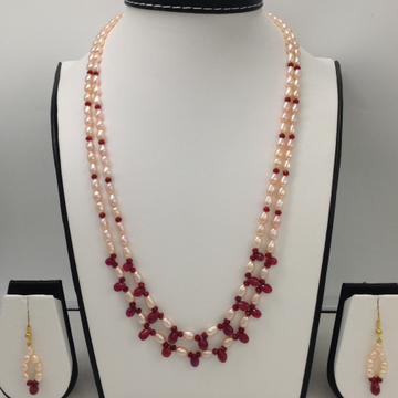 Freshwater Orange Oval Pearls 2 layers Necklace set with Faceted Ruby Drops