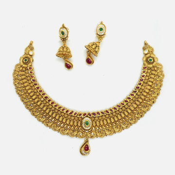 916 Gold Antique Bridal Choker Set RHJ-4772