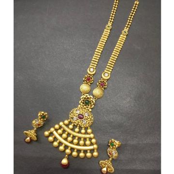 22KT Gold Antique Long Necklace Set kG-N005 by Kundan