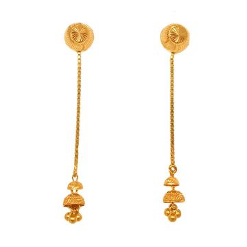 22K Gold Long Sui Dhaga Earrings MGA - BTG0354