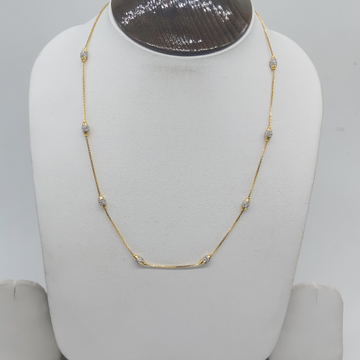 Gold fancy chain with rhodium balls by