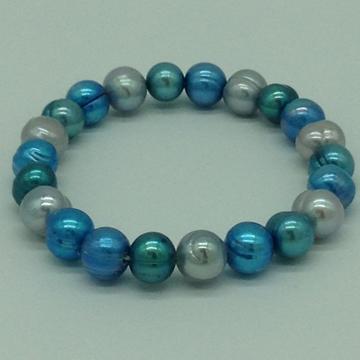 Blue And GreyPotatoPearls Elastic BraceletJBG0158