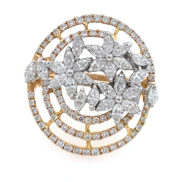 18kt / 750 floral design cocktail diamond ladies ring 8lr188