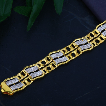 Mens CZ Gold Bracelet-MCB37