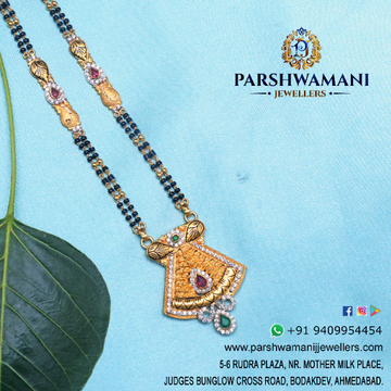 22Kt Gold Cz Light oxidised Antique Pendent with Two line Mangalsutra for Women