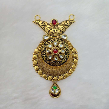 916 Gold Antique Red Stone Mangalsutra Pendant