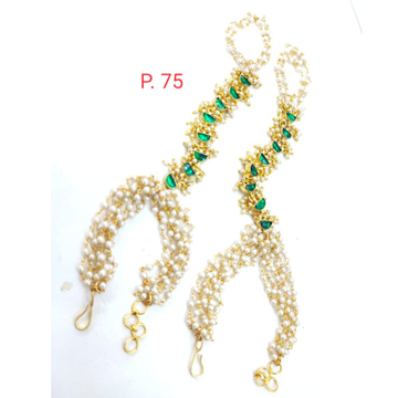 unique style Gold plated Grren stone & Pearl Hath phool 1636
