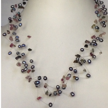 Freshwater Grey potato Pearls Wire ZIgZag Necklace with Semi Precious Chips